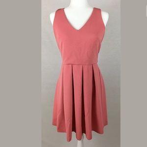 Ann Taylor Loft Pale Pink Flare V-Neck Dress Sz 2